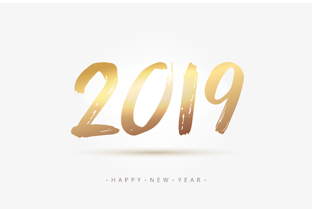 Vector stock 2018 minimalism premium New Year gold calligraphy. Golden numbers text 2018 in hand drawn brush style. EPS 10