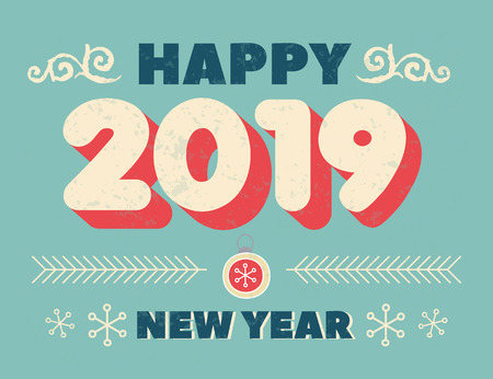 Happy New Year 2019 with frame in Christmas theme and inscription Happy New Year. Christmas background with ball, christmas tree,  candy. Vintage banner for Happy New Year . Vector Illustration 向量圖像