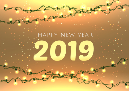 2019  lettering  luxury premium light template with golden Christmas garland light bulb in sparkling background. Happy New Year card design. Vector illustration EPS 10 file.