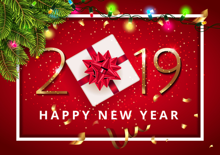 Vector stock premium luxury Classic Christmas 2019 Happy New Year red background beautiful gift with red bow under Christmas tree with lights bulb and Christmas elements