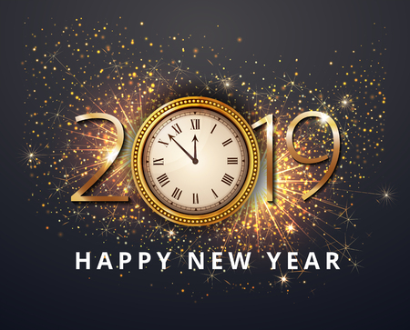 Vector stock Gold 2019 Christmas or New Year celebration premium luxury dark background with clock midnight and gold glittering shine  glitter firework sparkler decoration. Winter celebrate template