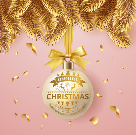 Vector Merry Christmas and happy New Year greeting card with  holiday decoration light ball hanging on golden christmas fir tree branches with gold bow and confetti. Pink soft elegant background.