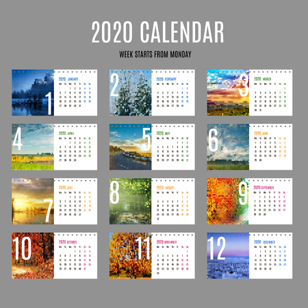 Desk calendar Template for 2020 Year. Vector design print template with place for photo. Set of 12 calendar pages. Stationery design European version. Week starts Monday. Vector Illustration.