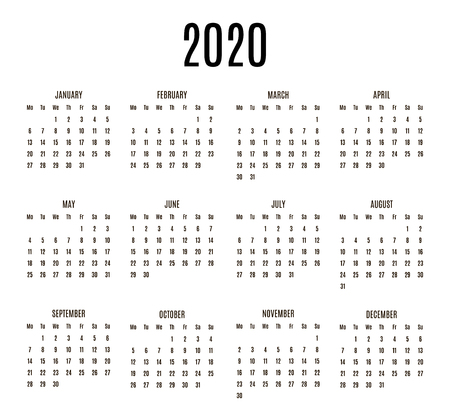 2020 year Calendar. Horizontal album orientation vector template of pocket calendar grid. Black and white mock up calendar. Week Starts Monday. Vector illustration. EPS 10