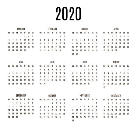 Calendrier de l'année 2020. Modèle vectoriel d'orientation horizontale de l'album de la grille du calendrier de poche. Calendrier de maquette noir et blanc. La semaine commence le lundi. Illustration vectorielle. EPS 10