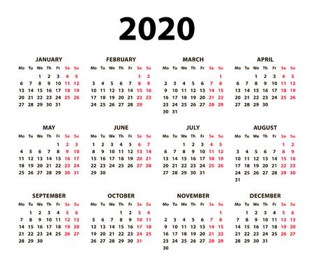 Calendar 2020 vector basic grid. Simple design template. Black and white mock up calendar. Week Starts Monday. Vector illustration. EPS 10