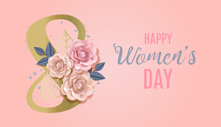 Happy International Womens Day Vector Banner, flyer for March 8 decorating by paper roses and hand drawn lettering. Congratulating and wishing happy holiday card for newsletter, brochures, postcards 向量圖像