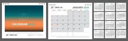 Desk calendar Template for 2020 Year. Design Template. American version. Week starts Sunday. Vector Illustration. blue emerald and orange colors.