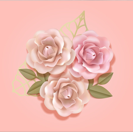 Elegant paper beige and peach pink roses with golden leaves in light pink luxury background, Paper flover composition  in 3d style realistic vector illustration. EPS 10