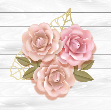 Elegant paper beige and peach pink roses with golden leaves in wooden background, Paper flover composition  in 3d style realistic vector illustration. EPS 10