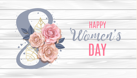 Happy International Womens Day Vector Banner, flyer for March 8 decorating by paper roses and hand drawn lettering in woodden background. Congratulations holiday card for letter, brochure, postcard