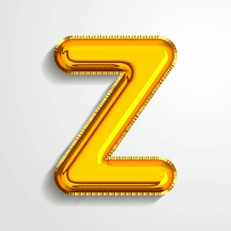 Gold metallic helium alphabet balloon foil letter Z realistic 3d render air balloon. Collection of golden balloon alphabet Vector illustration.