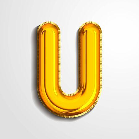 Gold metallic helium alphabet balloon foil letter U realistic 3d render air balloon. Collection of golden balloon alphabet Vector illustration.