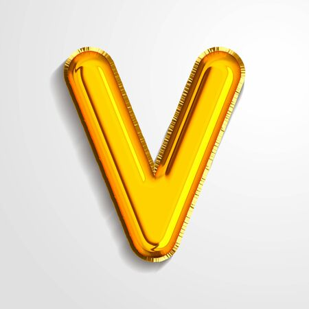 Gold metallic helium alphabet balloon foil letter V realistic 3d render air balloon. Collection of golden balloon alphabet Vector illustration.