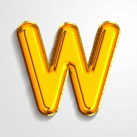 Gold metallic helium alphabet balloon foil letter W realistic 3d render air balloon. Collection of golden balloon alphabet Vector illustration. 向量圖像