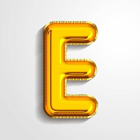 Gold metallic helium alphabet balloon foil letter E realistic 3d render air balloon. Collection of golden balloon alphabet Vector illustration.