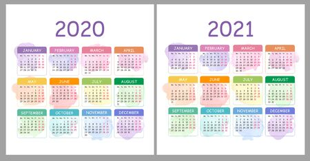 Vector Calendar 2020, 2021 years. Colorful set with watercolor splash . Horizontal vector design template, simple and clean design. Week starts on Monday. Basic grid. Pocket calendar.