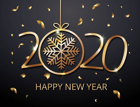Greeting card web banner or poster with happy new year 2020 with snowflake gold glitter confetti and shine. Luxury golden and black color invitation. Vector illustration for web. EPS 10