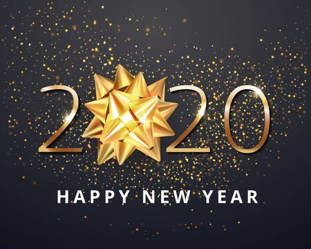 Greeting card  web banner or poster with happy new year 2020 with christmas bow gold glitter confetti and shine. Luxury golden and black color invitation. Vector illustration for web. EPS 10
