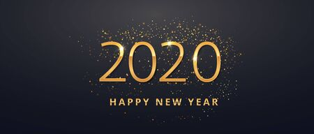 Greeting card web banner or poster with happy new year 2020 with gold glitter confetti and shine. Luxury golden and black color invitation. Vector illustration for web. EPS 10 向量圖像