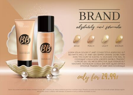 Premium VIP cosmetic ads, promotion make-up foundation for sale. Elegant BB face cream, lotion tube and glass bottle in a shell with shining pearl isolated on glitter background.3D realistic vector  向量圖像