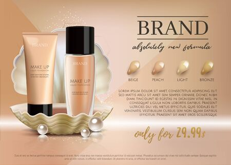 Premium VIP cosmetic ads, promotion make-up foundation for sale. Elegant face cream, lotion tube and glass bottle in a shell with shining pearl isolated on glitter background.3D realistic vector