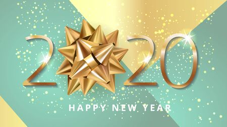 Happy New 2020 Year. Greeting card web banner or poster with happy new year 2020 with christmas bow gold glitter confetti and shine. Blue and elegant gold Luxury Vector illustration