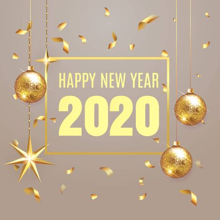 2020 happy new year lettering luxury premium design text template with golden confetti in brown elegant background. Happy New Year card design. Vector illustration EPS 10 Illusztráció