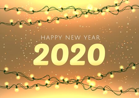 Happy New Year 2020 lettering luxury premium light template with golden Christmas garland light bulb in sparkling background. Festive event banner. Happy New Year card design. Vector illustration