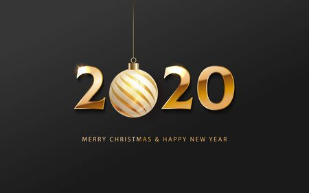 2020 Happy New Year celebrate banner with 2020 numbers creative design, text merry Christmas and happy new year holiday greetings and gold Christmas ball. Vector illustration 일러스트