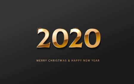 Greeting card web banner or poster with happy new year number 2020 with gold luxury shine effect. Merry christmas and happy new year golden and black color invitation. Vector illustration web. EPS