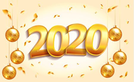 2020 golden New Year sign in winter holiday light background with christmas balls. Vector New Year illustration