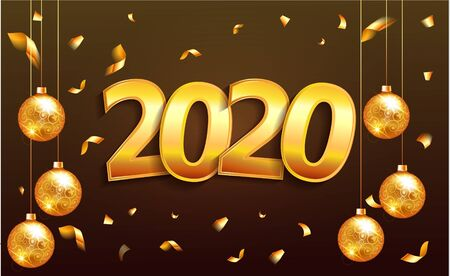 2020 lettering gold numbers isolated in dark brown background. Glossy Christmas 2020 banner with christmas ball luxury cards invitations party for the New Year 2020 and Christmas Modern design gold.