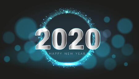 Blue 2020 Happy New Year card with premium bokeh magic texture design background. Festive rich premium luxury design for holiday card, invitation, calendar poster. Happy 2020 New Year text template.