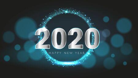 Carte de bonne année 2020 bleue avec arrière-plan de conception de texture magique bokeh premium. Design de luxe riche et festif pour carte de vœux, invitation, affiche de calendrier. Modèle de texte joyeux nouvel an 2020.
