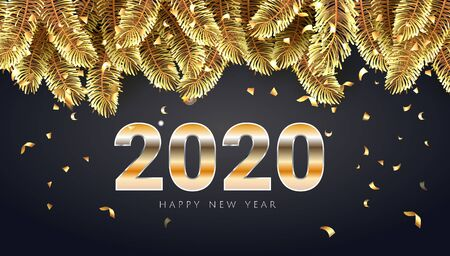 2020 Happy new Year golden lettering luxury premium brown template with golden Christmas fir tree branches in black sparkling confetti background. Happy New Year card design. Vector illustration EPS. 일러스트