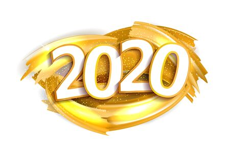 Happy New Year Banner with Gold 2020 Numbers on white Background with paint gold brush splash with sparkles and Streamers. Vector illustration.