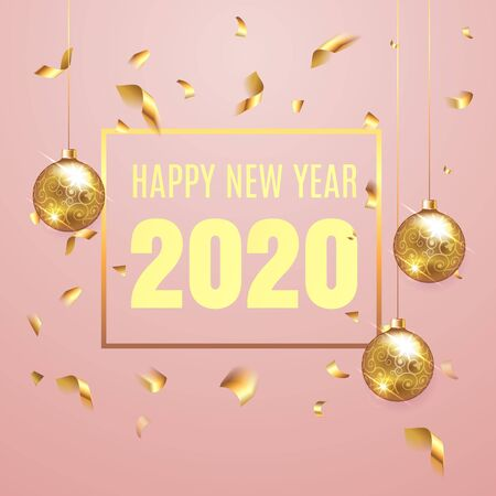 2020 happy new year lettering luxury premium text template with golden confetti and Christmas ball in pink elegant background. Happy New Year card design. Vector illustration EPS 10.