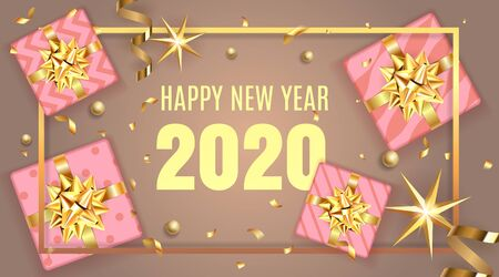 Golden gift or present boxes, 2020 numbers happy new year template with Christmas decorations in pink background top view and golden frame. Web banner or poster celebration design. 일러스트