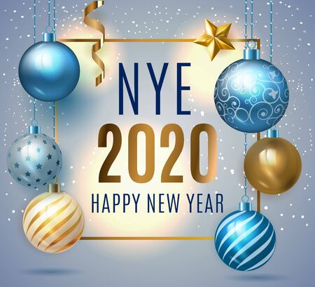 Happy New Year 2020. Holiday luxury premium text template with golden confetti and Christmas ball in blue elegant background with golden and blue glass balls, stars and confetti. Xmas baubles. Vector.