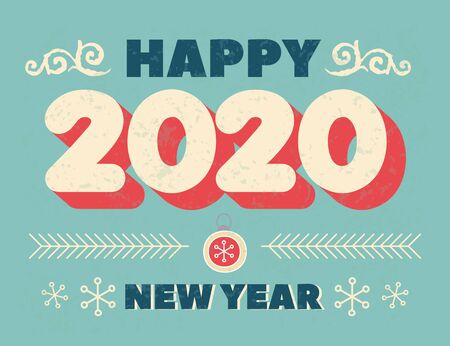 Numbers 2020 Christmas New Year lettering clip art, isolated print. Handwritten Vintage poster or greeting card. Vector Happy New Year typography. Winter design Grunge effects can be easily removed  Illusztráció