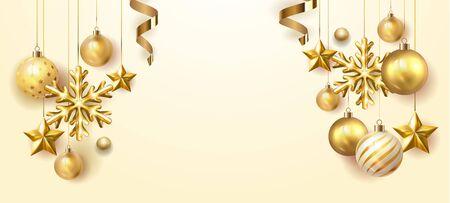 Golden Christmas balls light white background. Festive xmas decoration gold glass christmas balls and glossy snowflake, stars, hanging on the ribbon. Vector illustration banner design template EPS 10 Vektoros illusztráció