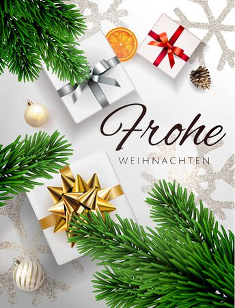 White Frohe Weihnachten translate Merry Christmas Holiday vertical poster illustration with realistic vector 3d gift under the christmas treetop view, gold red silver gift box bow and snowflake banner Banque d'images - 136983796