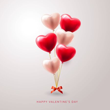 3D Realistic Red Heart Balloons Flying with Love Pattern and Happy Valentines Day Text Greetings in Background. Vector Illustration Stock Vector - 137456596