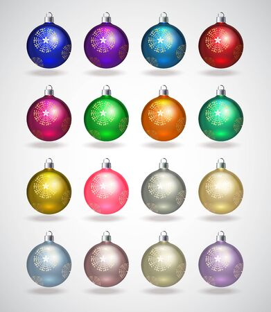 Colorful christmas balls. Set of isolated realistic decorations. Vector illustration