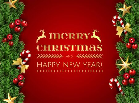 Merry Christmas Happy New Year Typographical card with christmas elements border frame with season realistic looking christmas fir tree branch decorated with red berries, stars and candy cane with bow