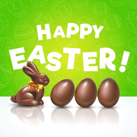Easter chocolate eggs with chocolate cute bunny. Flyer or poster Easter hunt for children. Funny holidays spring decoration with green background and seamless pattern. Happy Easter!