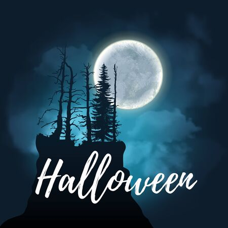 Halloween design poster with a night sky with clouds and full moon. Landscape of precipice with a scary dark trees, full moon in dark forest. Vector illustration EPS 10 Vectores