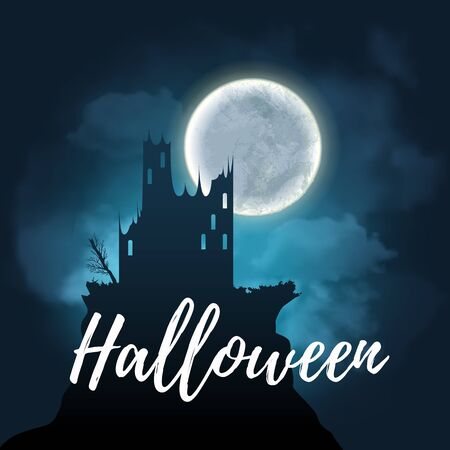 Halloween design poster with a night sky with clouds and full moon. Landscape of precipice with a scary dark tree and gothic style old castle silhouette. Vector illustration EPS 10