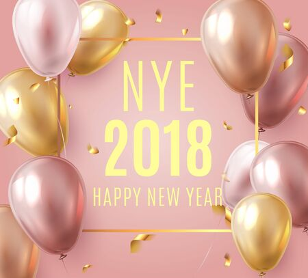 Vector stock elegant pink balloon party happy new year celebration festival background. NYE 2018 confetti greeting background with helium shine gold and pink balloon. Rich, VIP, luxury. Illusztráció